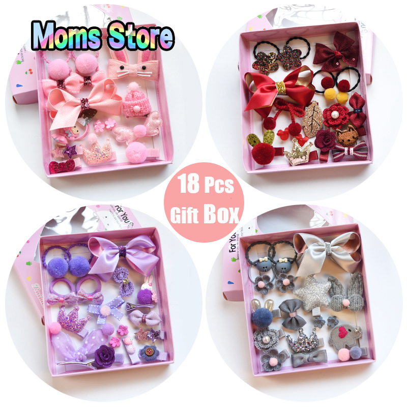 18 Pcs/Box Children Cute Hair Accessories Set Baby Fabric Bow Flower Hairpins Barrettes Hair Clips Girls Gift Baby Headwear