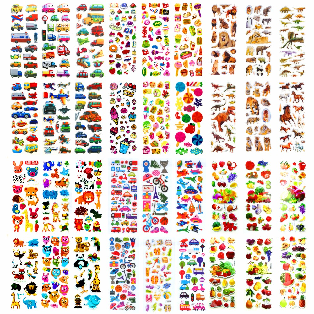 36 Sheets Lots Different Wholesale Various Kawaii Reward Kid Toys Scrapbooking Bubble Puffy Stickers Factory Direct Sales