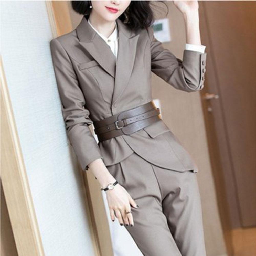 Suit women two-piece female blazer set temperament high-end female office ladies OL professional pants suit female autumn new 19