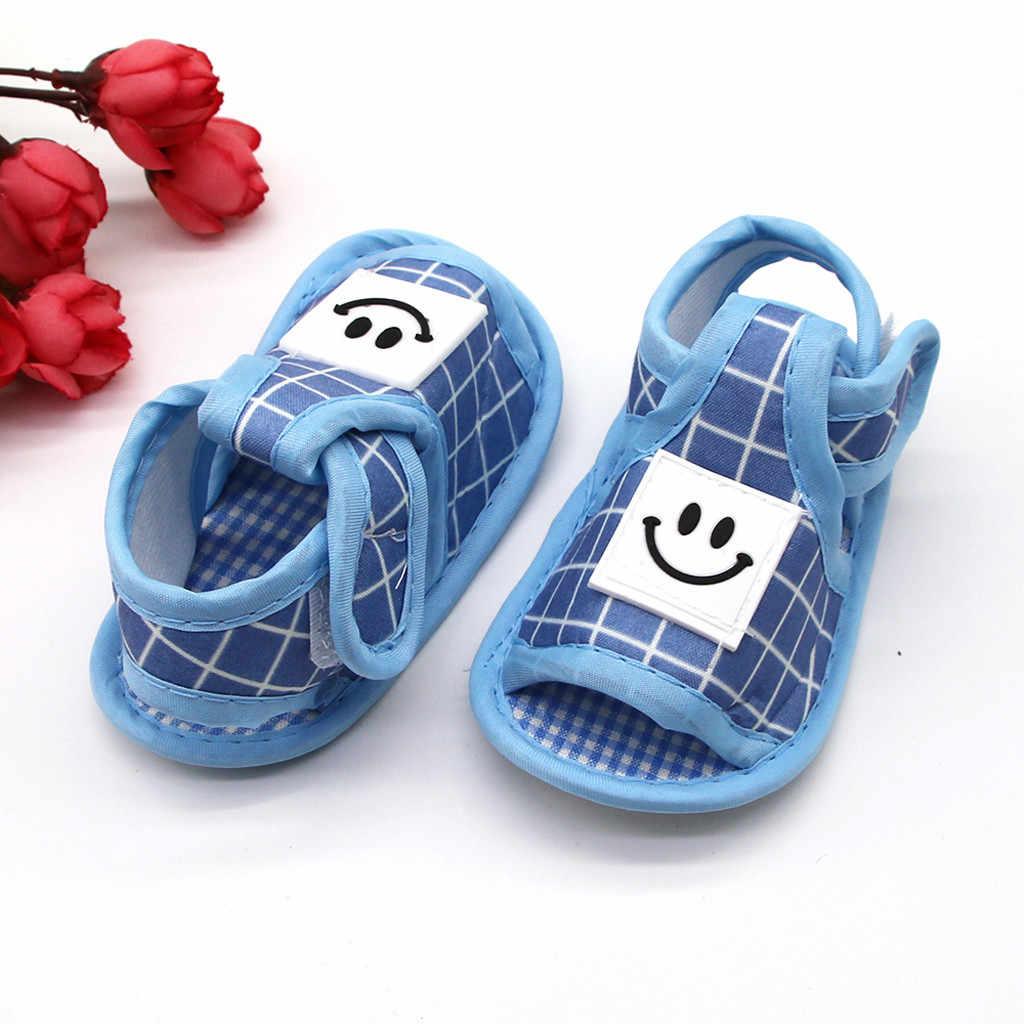 Sandalias para niños y niñas, Sandalias Kawaii con cara sonriente, zapatos de verano para los primeros Walkfers, sandalia con suela suave, Sandalias antideslizantes para bebés y niñas