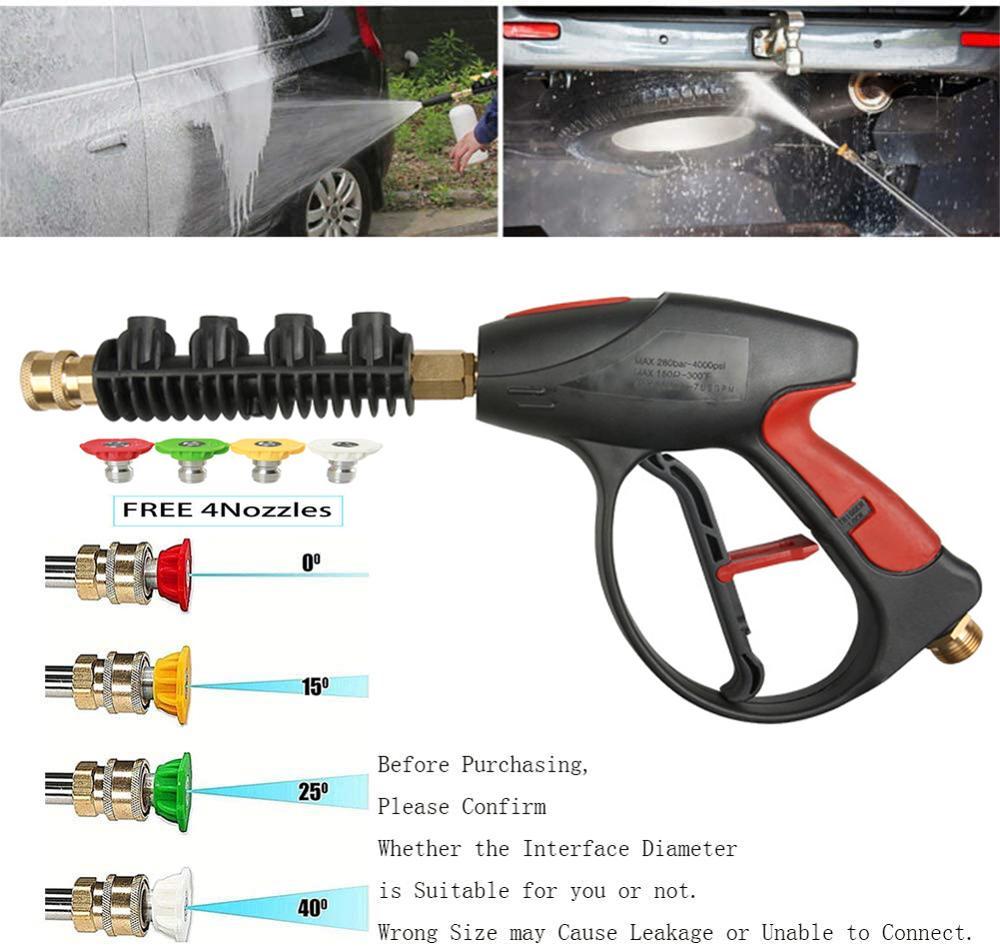 2020 heißer 4000PSI Hochdruck Auto Power Washer Spray 4 Düsen Wasser Pistole Lance Zauberstab Schlauch 1/4 Auto Waschen Spray pistole Reinigung Werkzeug