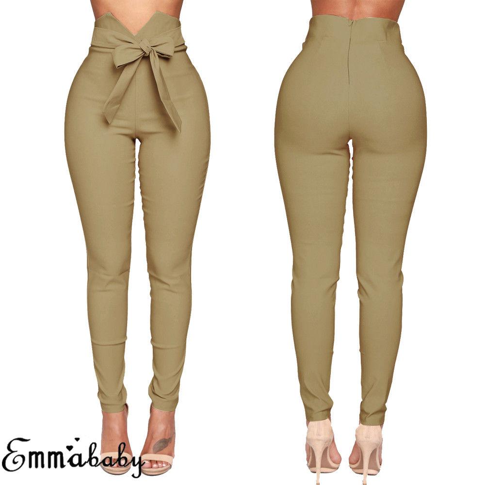 Fashion Women High Waist Casual Pants Fashion Ladies Bowknot Long Slim Skinny Pants Bandage Elastic Pencil Trousers With Sashes