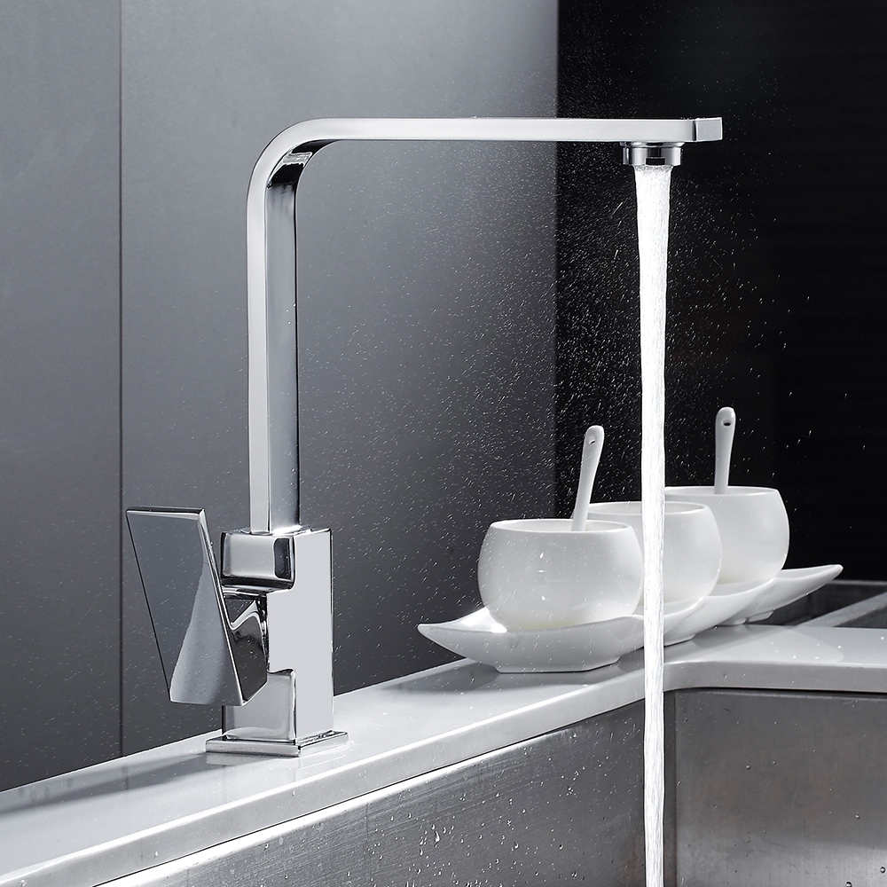 Chrome Square Kitchen Faucet Sink Mono Bloc Single Lever Swivel Spout Brass Cold Hot Mixer Water Tap Kitchen Sink Faucet