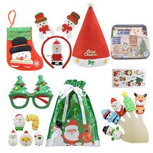 Christmas Toys Set  Xmas Mini Scarf Hat Decor Doll Clothes Accessory Sensory Novel Christmas Dolls for Party Gifts