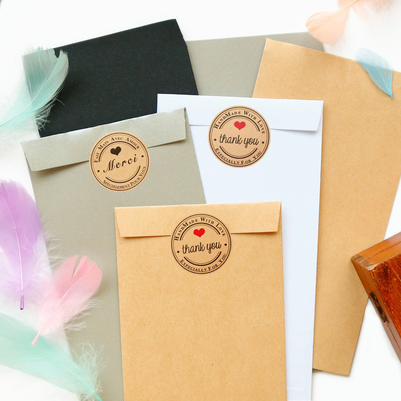 12sets Retro Kraft Paper Envelope Classical Party Invitation Envelope With Thank You Stickers Mix Color DIY Craft Gift Bag