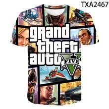 2021 New Grand Theft Auto Gta 3D printed men's T-shirt summer short-sleeved casual children's T-shirt round neck top 110/6XL