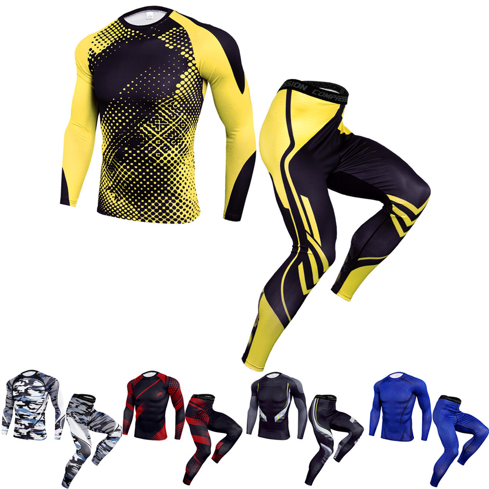 MMA Gym Men Sport Suit Long Sleeve Bjj  Jiu JitsuT Shirts Pants MMA Compression Boxing Set Muay Thai Rashguard Fitness Tracksuit