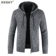 Cardigan à manches longues épais pour hommes, pull tricoté de haute qualité à capuche, fermeture éclair, chaud, nouvelle collection 3xl