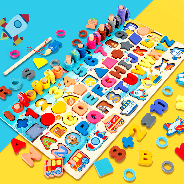 Montessori Educational Toys Seven in one Number Plate Children s Fishing Toys Puzzle Baby Early Education