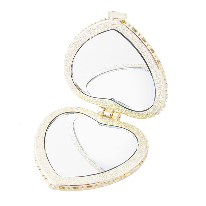 Купить с кэшбэком Heart Shape Embroidered Flowers Mini Pocket Mirror Make Up Cosmetics Rose Red