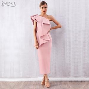 Image 1 - Adyce Donne di Estate Bianco Celebrity Runway Vestito Da Partito Abiti 2020 Sexy Senza Maniche Ruffles Una Spalla Maxi Aderente Club Dress