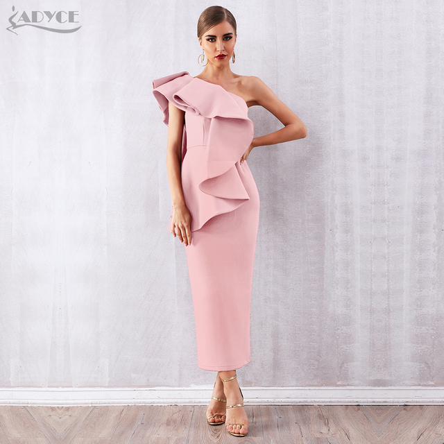 Adyce Donne di Estate Bianco Celebrity Runway Vestito Da Partito Abiti 2020 Sexy Senza Maniche Ruffles Una Spalla Maxi Aderente Club Dress