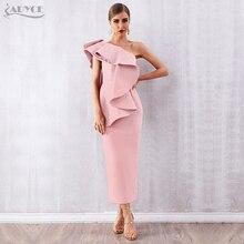 Adyce 여름 여성 화이트 연예인 활주로 파티 드레스 Vestidos 2020 섹시한 민소매 Ruffles One Shoulder Maxi Bodycon Club Dress