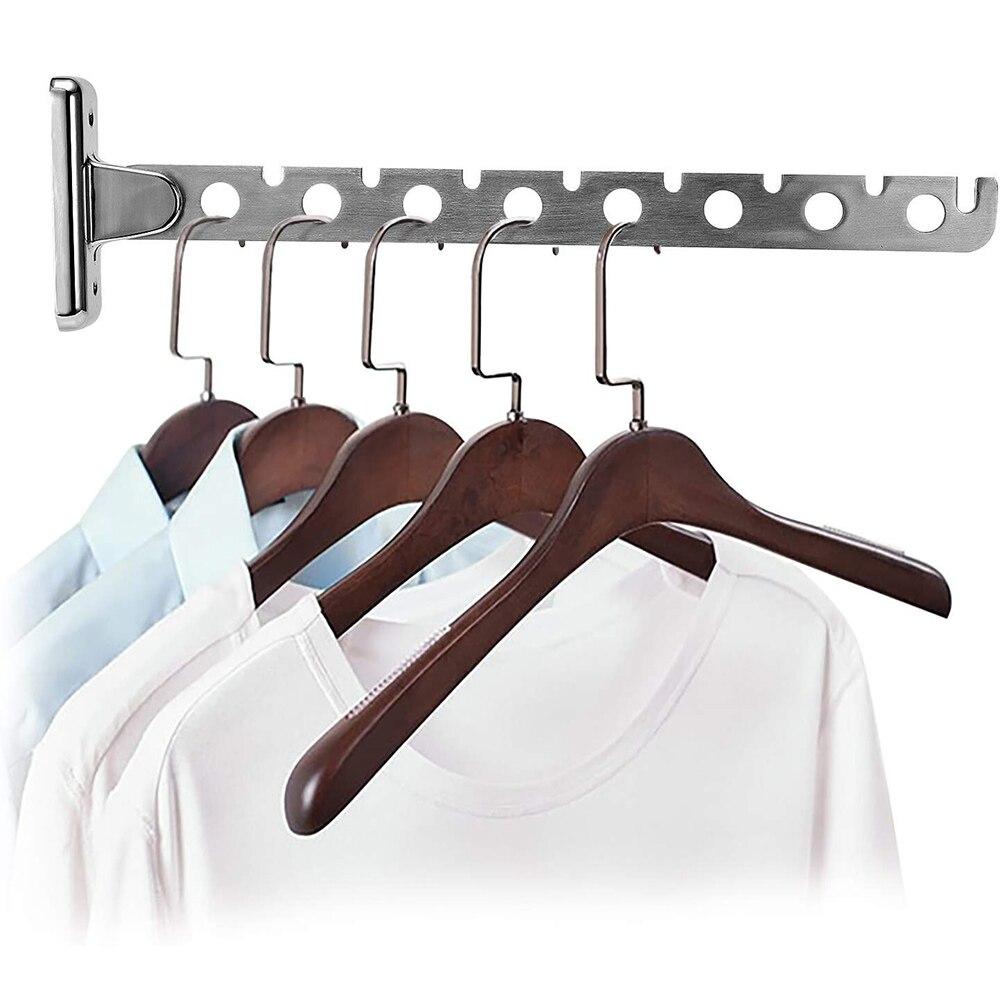 6/8 รูผนังแขวนเสื้อผ้า Rack พร้อมสกรูสแตนเลสสตีลพับ Space Saving แขวนเสื้อผ้า