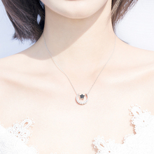 Original Design Silver Crystal Moon Star Choker Necklace 925 Double Sided Black White Stars Necklace Party Jewelry Gift For Girl sweet romantic that s ok major suit moon stars pendeloque cut necklace 114swr xiangl silver 925 jewelry christmas gift boho