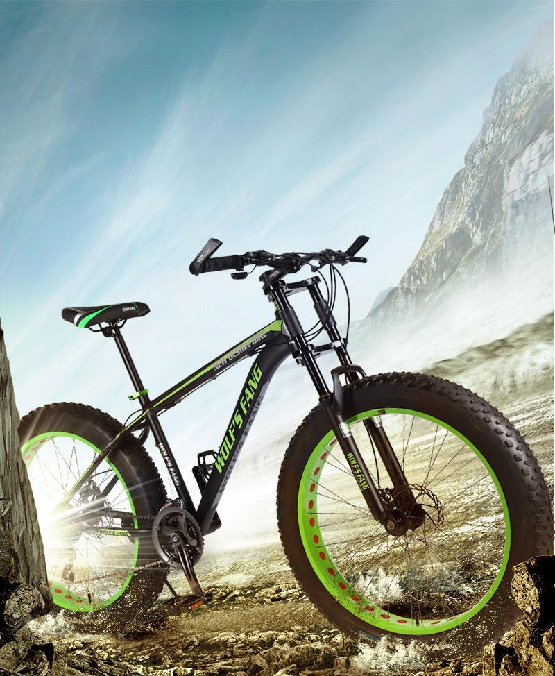 "H8331effb8b524d16b01ba3bf35edd482m wolf's fang Mountain bike bicycle aluminum frame 7/21/24 speed mechanical brakes 26 ""x 4.0 wheels long fork Fat Bikes road bike"