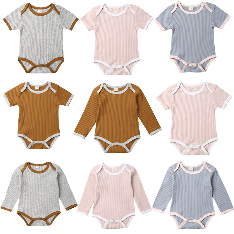 2020 Summer Toddler Newborn Baby Boy Girls Rompers Jumpsuit Summer Autumn Infant Baby Ribbed Knitted Cotton Outfits Clothes