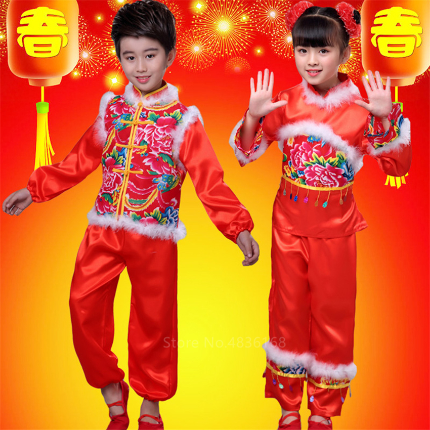 Chinese Top Red  Tang Suit Blouse Traditional Chinese Clothing For Men Kids Baby Girl Boy Jacket New Year Clothes Dance Kungfu