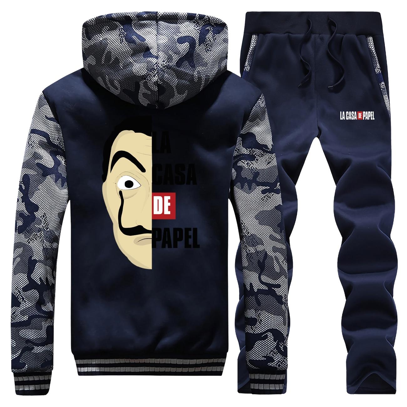 La Casa De Papel Mens Brand Tracksuit Warm Winter Jacket Thick Camouflage Men Hoodies+Sweatpants 2 Piece Sets Hip Hop Sweatshirt