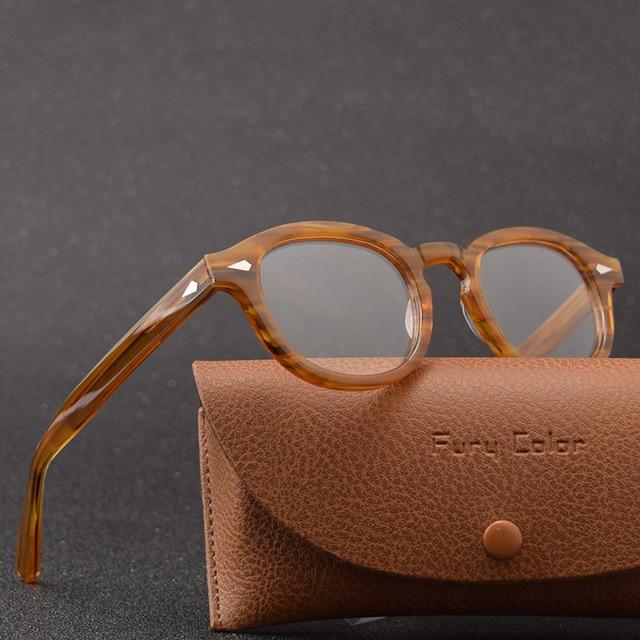 إطار نظارات جوني ديب دائري من مادة خلات إطار نظارات بصرية إطار عدسات شفافة للنساء والرجال وصفة طبية لقصر النظر