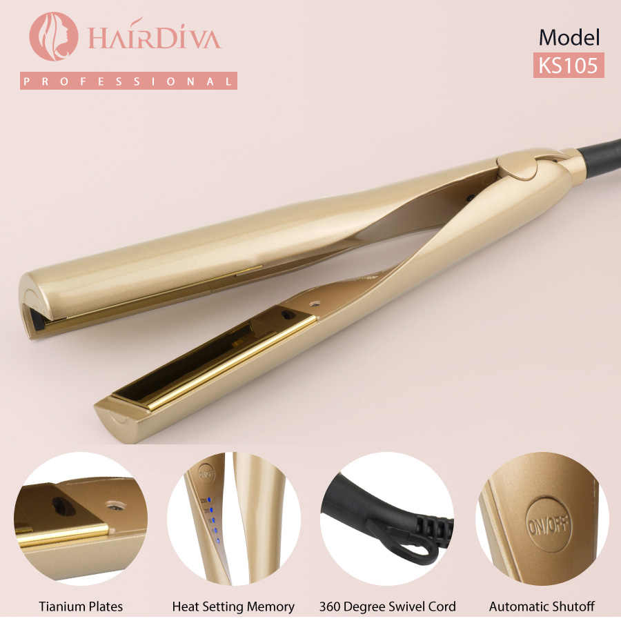 Hairdiva Professional Twist LED Hair Straightener Curler Multi-Styler Curling Chapinha Wand 2-In-1 Twisted Ceramic Flat Iron