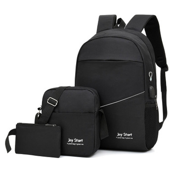 3 pcs USB charging casual backpack fashion men's bag multifunctional backpack Male Leisure Backpack Night Reflective School Bags - Black, China
