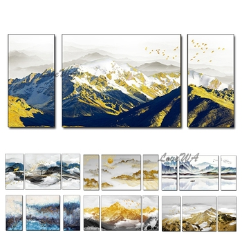Modern Mountain Picture Gold Foil Oil Painting 100% Handmade Wall Canvas Art Wall Picture Hangings Artwork For Living Room Decor