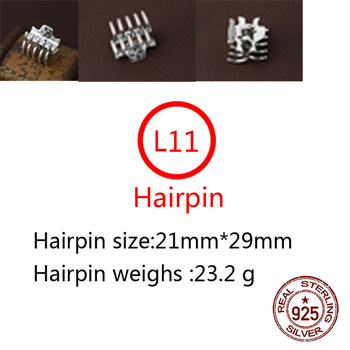 L11 s925 sterling silver hairpin personality fashion punk hip-hop style jewelry cross letter shape hair accessories