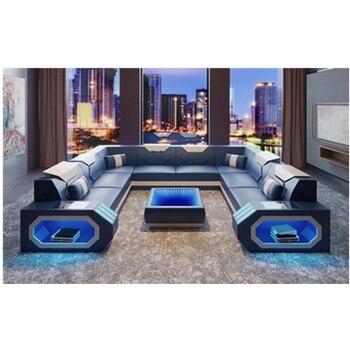 Mordern Armrest Headrest corner Seater Furniture Couch living room U Shape Genuine Leather Sofa Set