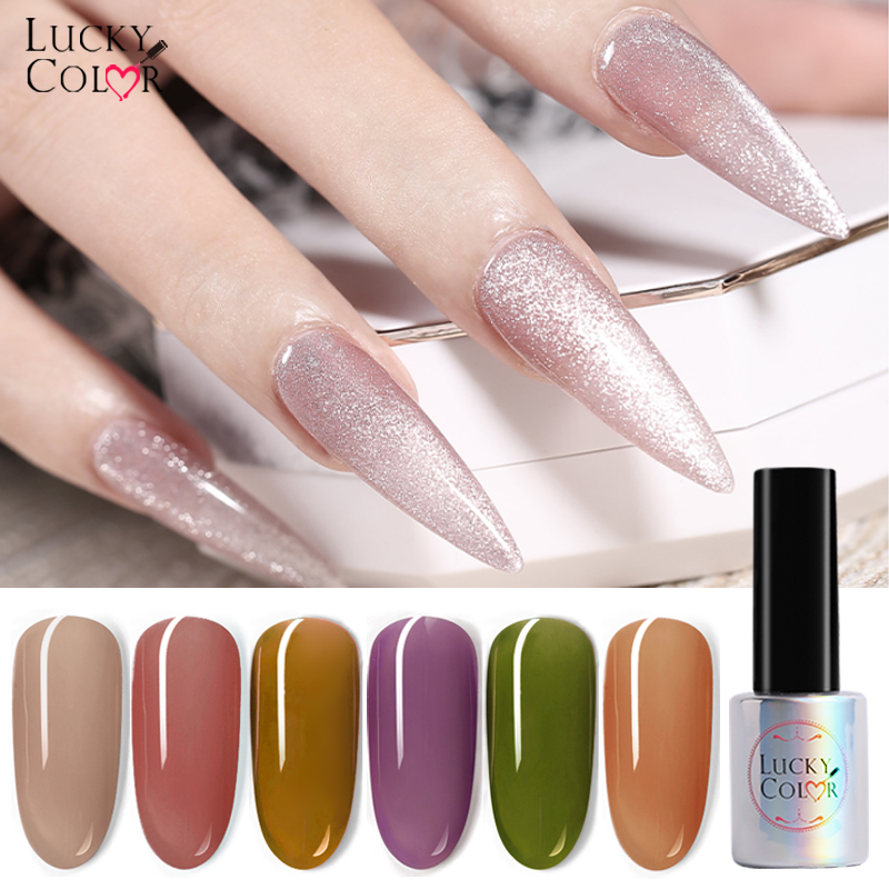LUCKYCOLOR Nails Gel Polish 9D Glitter Cat's Eye Silver Jelly Nude Color Manicure Vernis UV Soak Off Design Nails Art 26 Colors