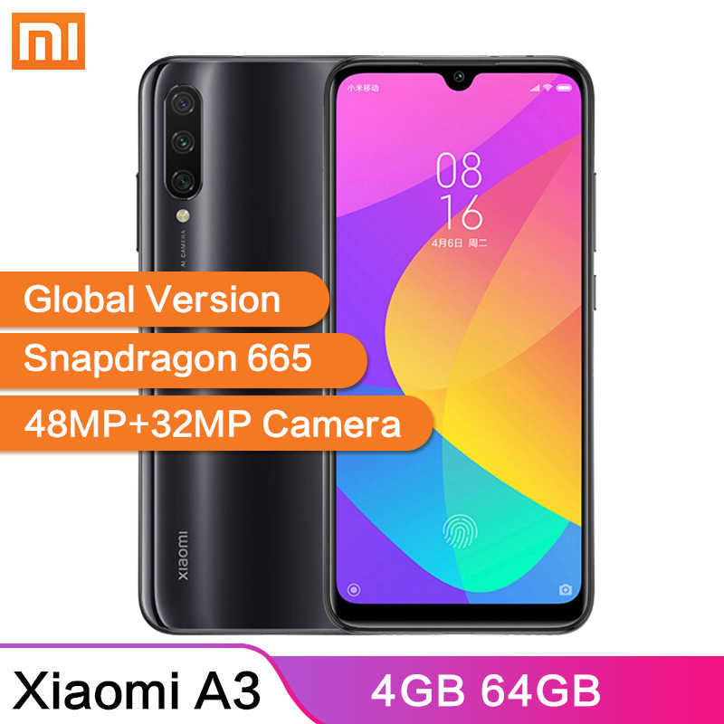 "Global Version Xiaomi Mi A3 MiA3 4GB 64GB 48MP+32MP Camera 6.088"" AMOLED Screen 4030mAh Android One Snapdragon 665 Smartphone"