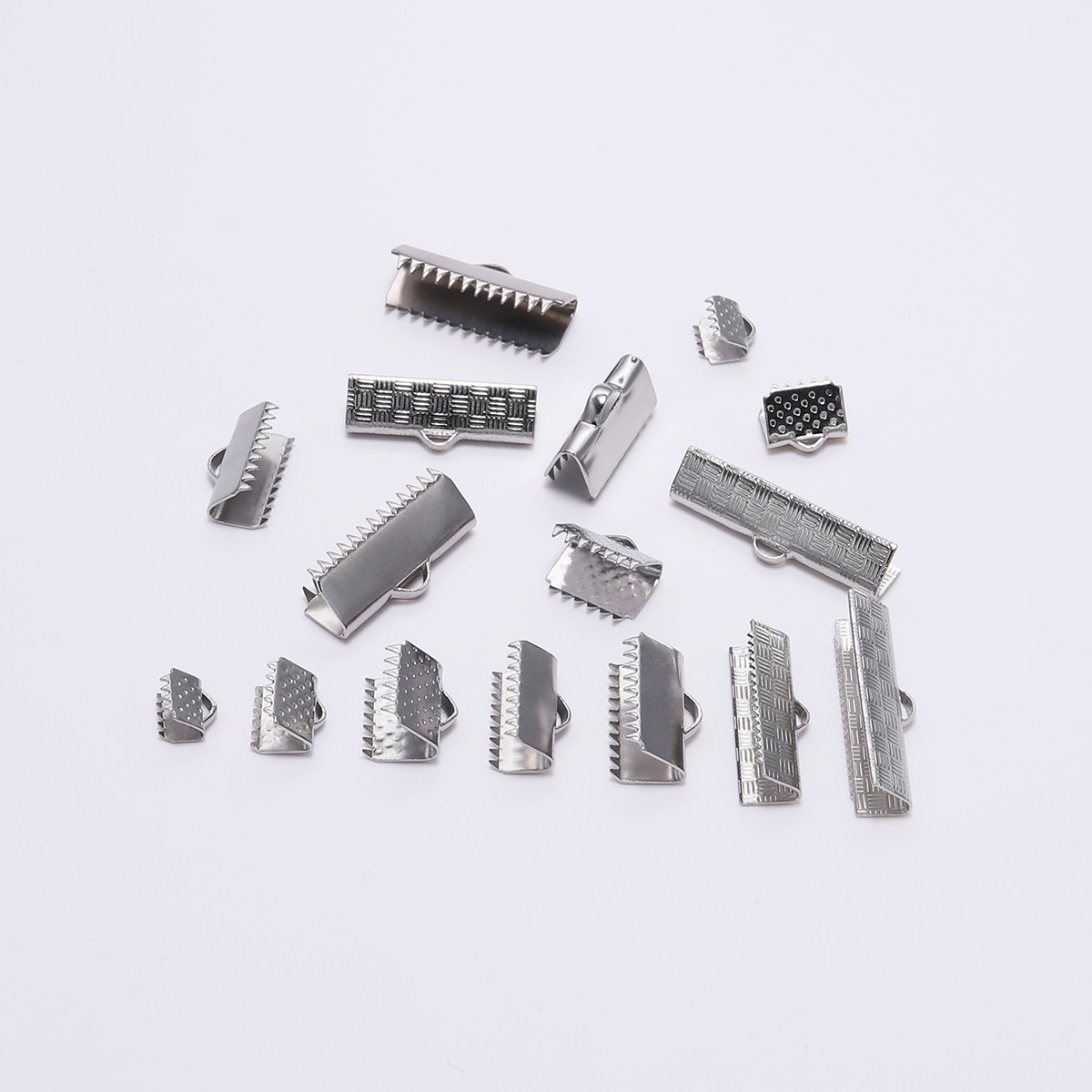Stainless Steel Crimp End Beads Buckle Tips Clasp Cord Flat Cover Clasps For Jewelry Making Findings Diy Bracelet Connectors