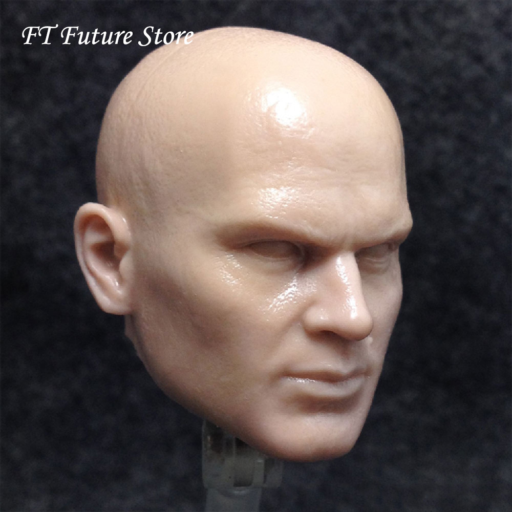 Un-painted 1/6 Scale Male Figure Accessory FPS Hitman Timothy Olyphant Head Sculpt Carving Model for 12'' Body image