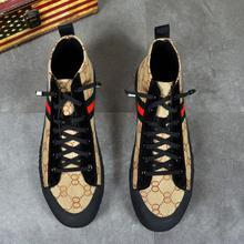 Высокое качество; модная мужская обувь с высоким берцем; Повседневная Роскошная парусиновая обувь; мужские Тапочки