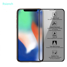 Rsionch 9H Privacy Tempered Glass for iPhone 11 Pro Max 11 XR XS Max 11 Pro Anti Spy Glass on iPhone 7 8 Plus Anti Peeping Glass