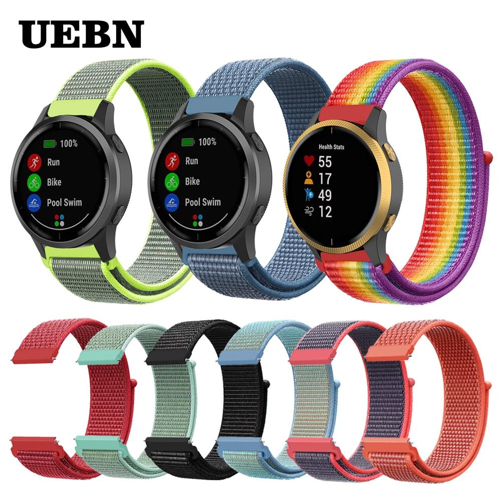 UEBN 20mm 22mm Nylon Sport Loop Strap Replacement For Garmin Vivoactive 3 4 Venu/GarminMove/Forerunner 245 645 Band  Watchbands