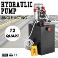 12 Quart гидравлический насос одиночный действующий металлический бак 12V блок питания резервуар