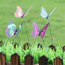 Planter Stake Garden Flower-Pot Outdoor-Decoration Patio Whimsical Yard Butterfly Colorful