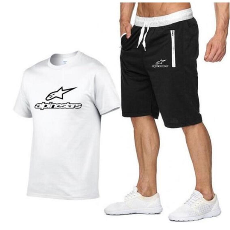 2020 T Shirt Men Alpinestars Fashion Summer Cotton Short Sleeve Sporting Suit T-shirt +shorts Men's 2 Pieces Sets Casual Cloth