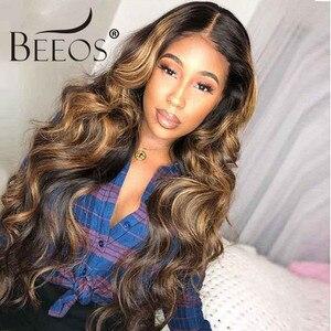 """Image 2 - Beeos высокое соотношение 4*4 Кружева Закрытие человеческих волос парик объемная волна цвет волос 180% бразильские волосы Remy 8 """" 26"""""""