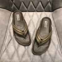 French v vl 2020 new herringbone slippers men's sandals camouflage rivets rubber bottom antiskid top genuine leather package