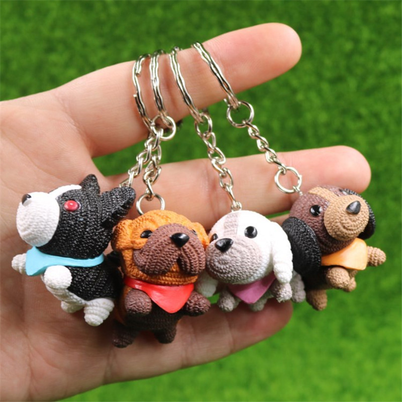 Fashion Tiny Dog Key Chain Animal Couple Lovely Keychains pvc Cute Car Keyring Gift for Women Men Jewelry Bag Charms Accessories(China)