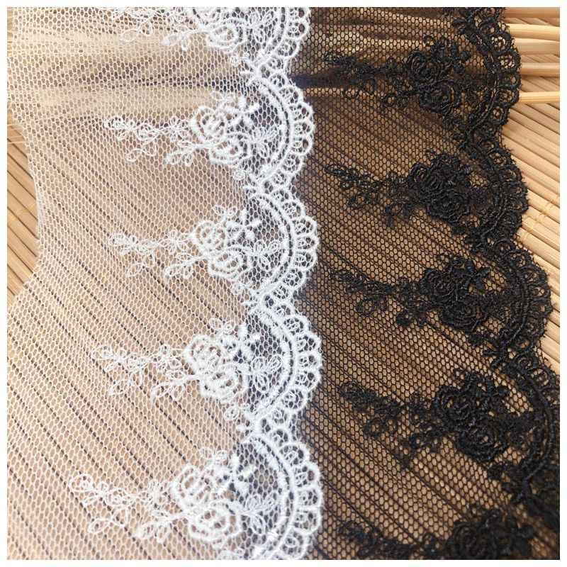 2 yardas, 6,2 cm de ancho, buena calidad, malla bordada, tela de encaje, cintas de ajuste para prendas DIY, encaje blanco y negro para coser B67