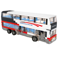SLUBAN 0335 741 PCS City bus/deluxe double-decker bus.3D DIY Figures Birthday Christmas Gifts Legoingly toys for children
