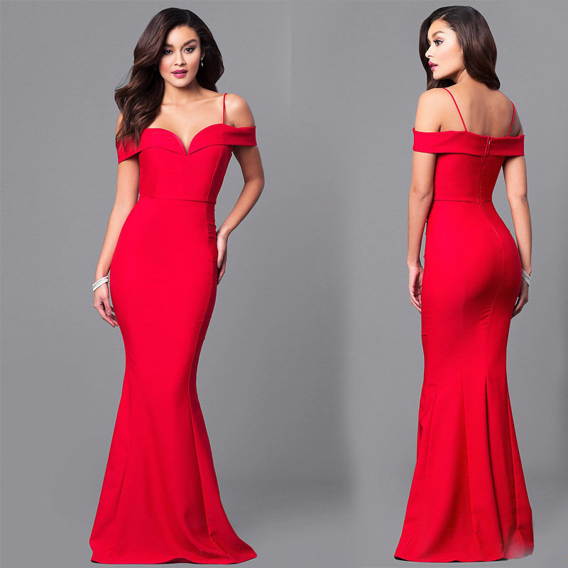 Robe longue sirène, col bateau, épaules dénudées, moulante, rouge, robe de soirée