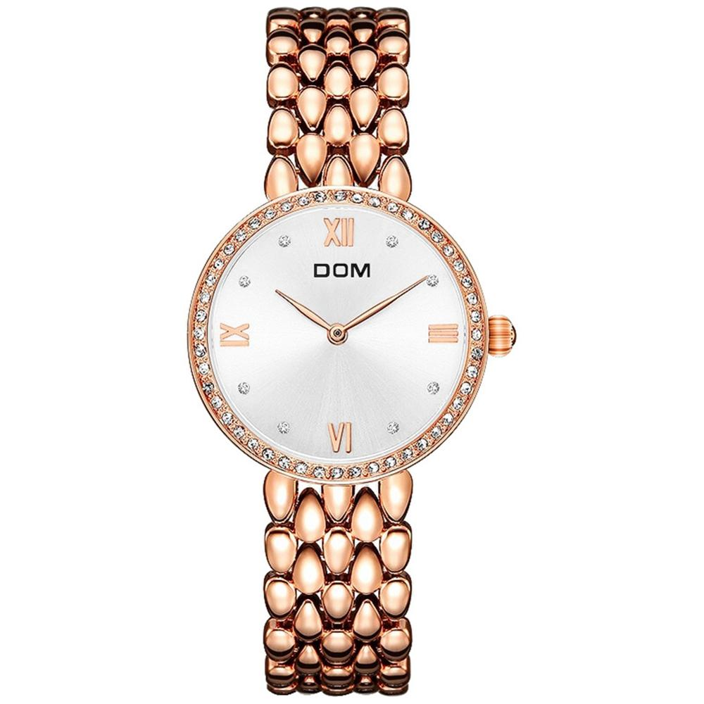 DOM Watches Women Fashion Watch 2019 Top Brand Female Fashion Wrist Watches Waterproof Women Steel Bracelet Watches G-1235G-7M