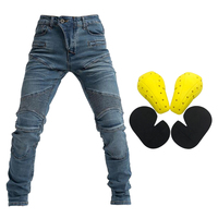 Men's Motorcycle Motorbike Riding Jeans Armor Racing Pants with 4 Knee Hip Protector Pads (S, M, L XL, XXL, XXXL Blue)