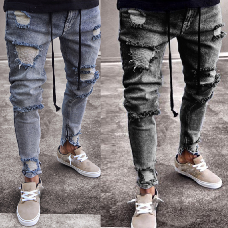 Vaqueros Rotos Hombre Long Trousers For Men Broken Hole Decor Stretch Zipper Feet Trend Mens Ripped Jeans Streearwear Mens Jeans