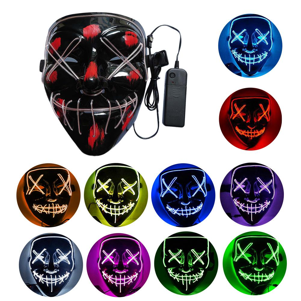 Neon Mask LED Light Up Party Masks The Purge Election Year Great Funny Masks Festival Cosplay Costume Supplies Glow In Dark