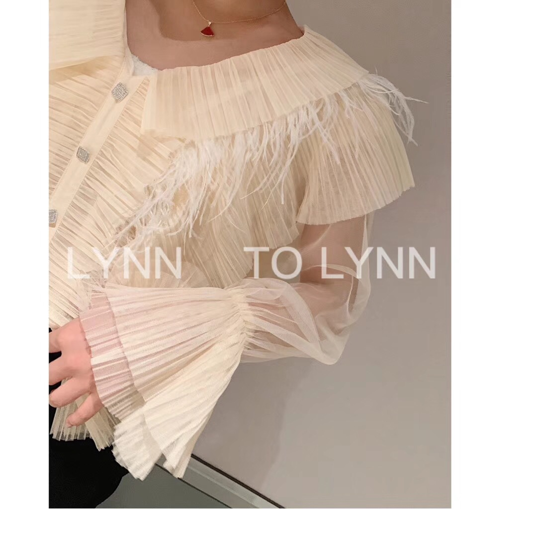 2019 Early Autumn Name Fairy Feather Shirt Doll Collar Horn Cuff Thai Long-sleeved Flare Sleeve Chiffon Women Blouses